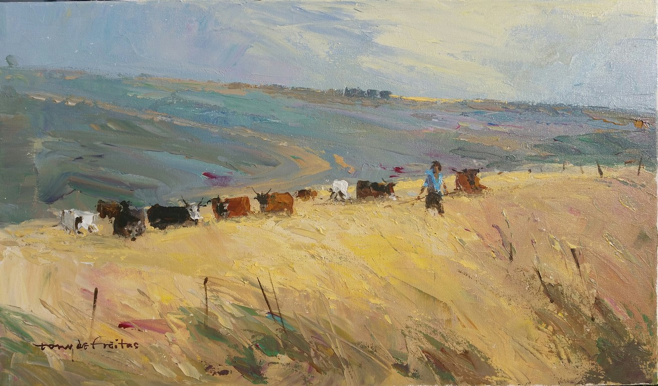 2651 35x60cm Herd on the Hill